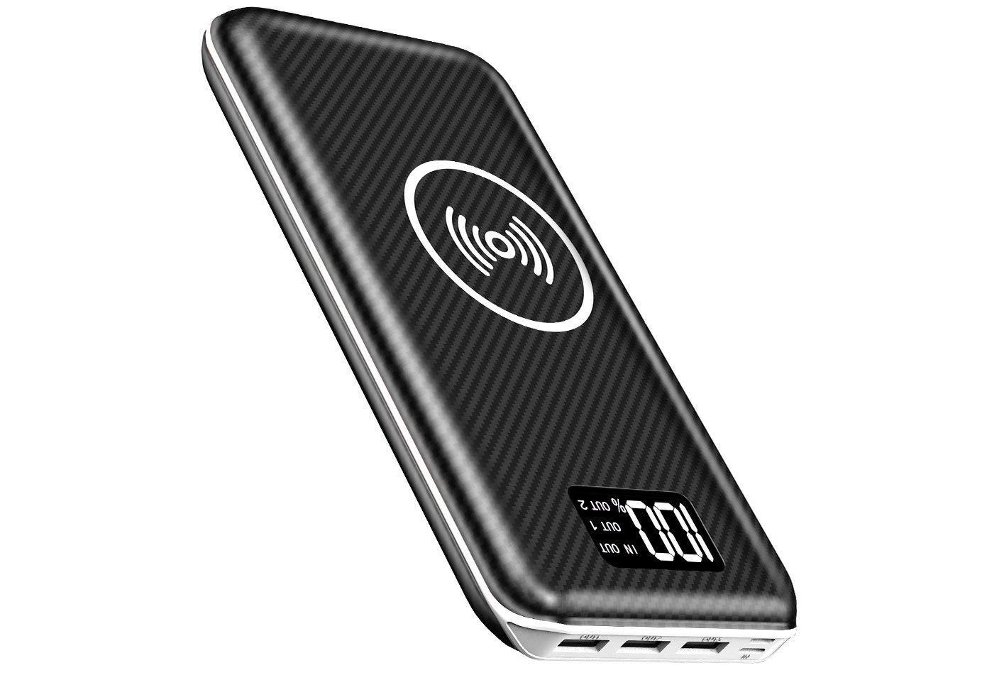 Promo flash : batterie grande capacité (24 000 mAh), recharge induction Qi, entrée Lightning et indicateur numérique de charge 1