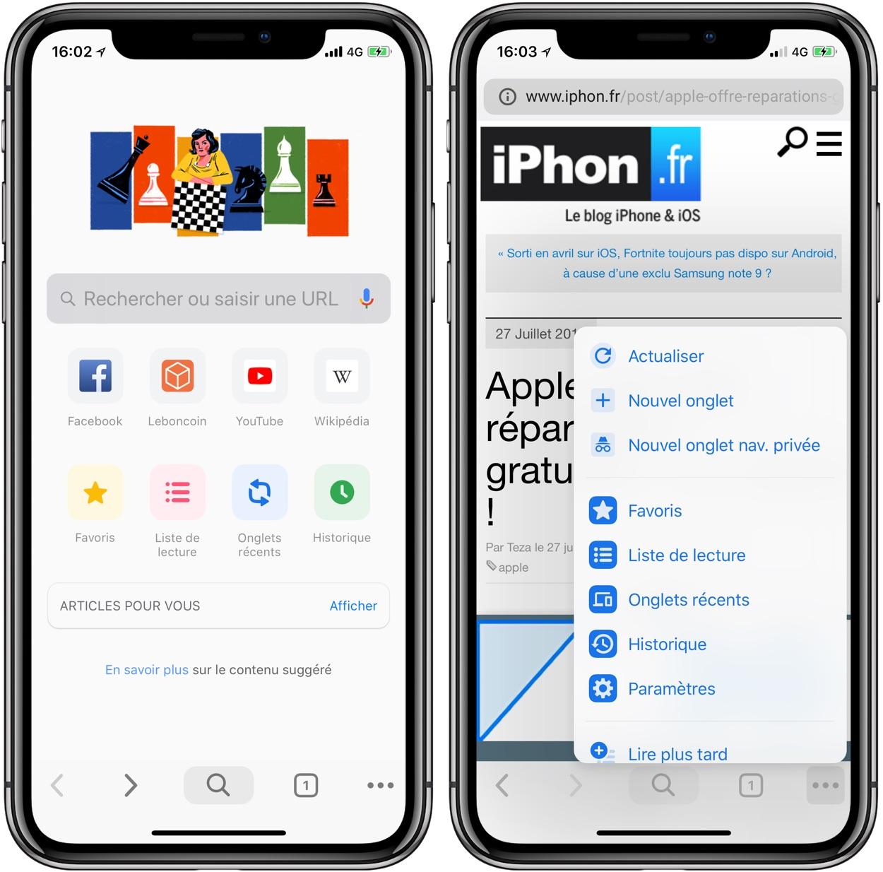 """Comment activer la nouvelle interface """"Material"""" dans Google Chrome sur iPhone, iPad (et Mac) 1"""