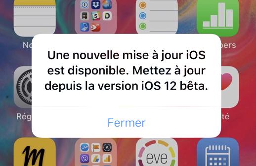 iOS 12 Beta: un message de mise à jour régulièrement affiché par erreur 1