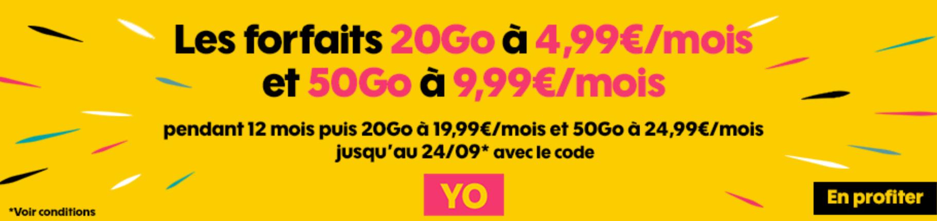 Dernier jour promos forfaits Sosh : 20 Go + illimité à 4,99 € et 50 Go à 9,99 € mensuels 1