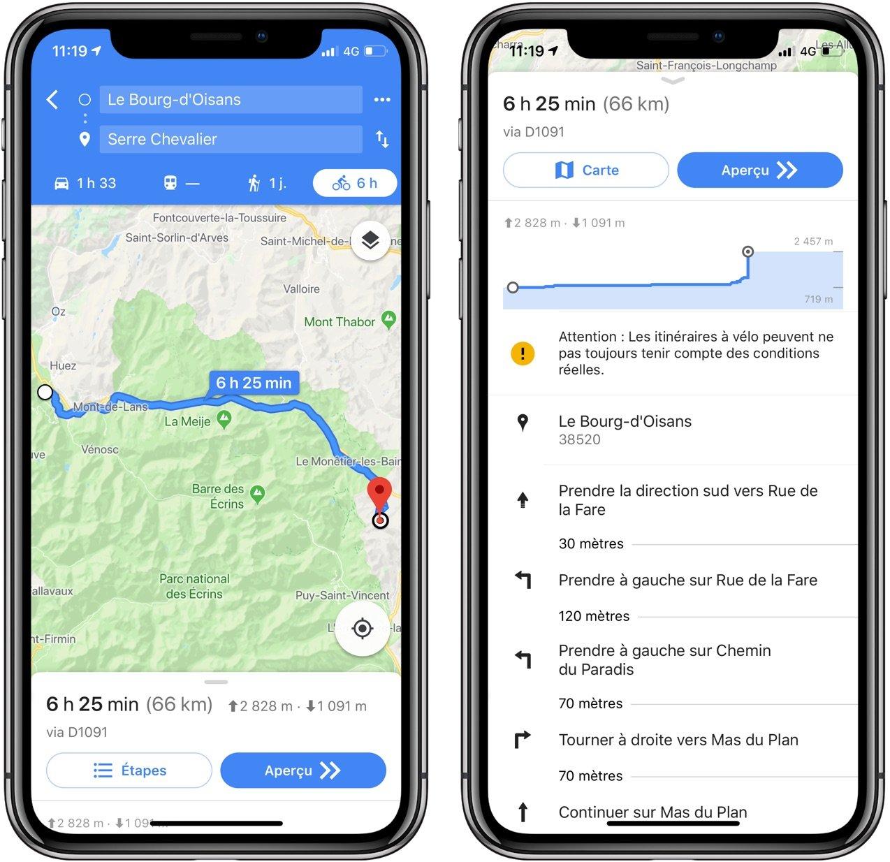 Itinéraires Google Maps à velo