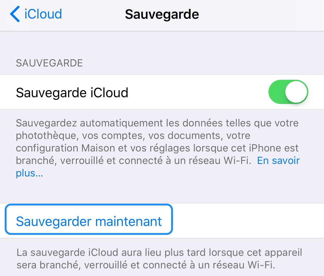 Réglages iOS sauvegarder son iPhone
