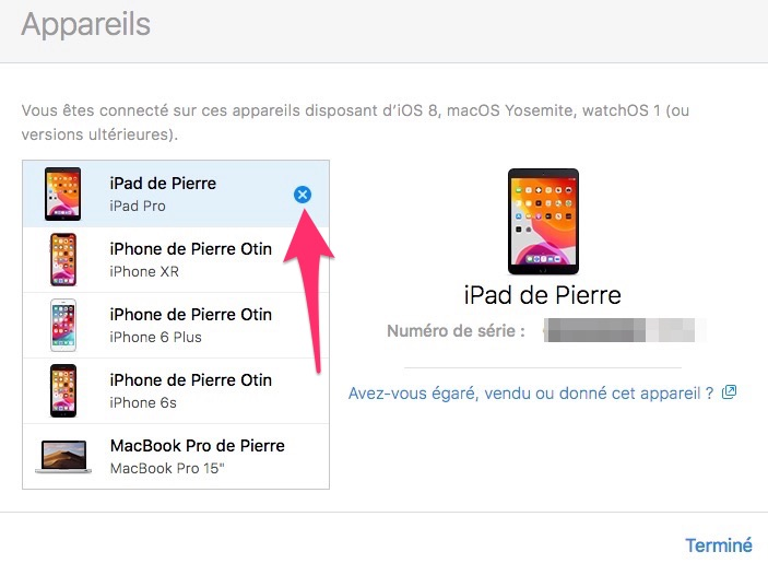 Supprimer appareil Apple compte iCloud