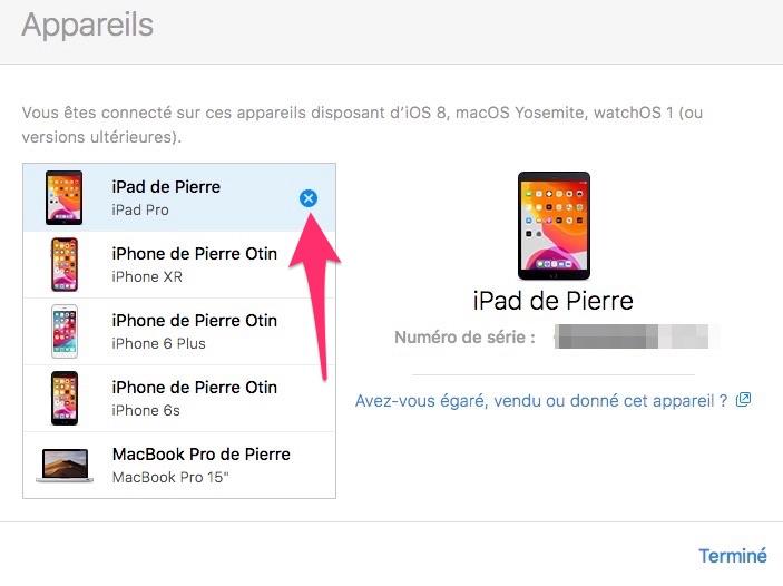 Supprimer appareil Apple compte iCloud