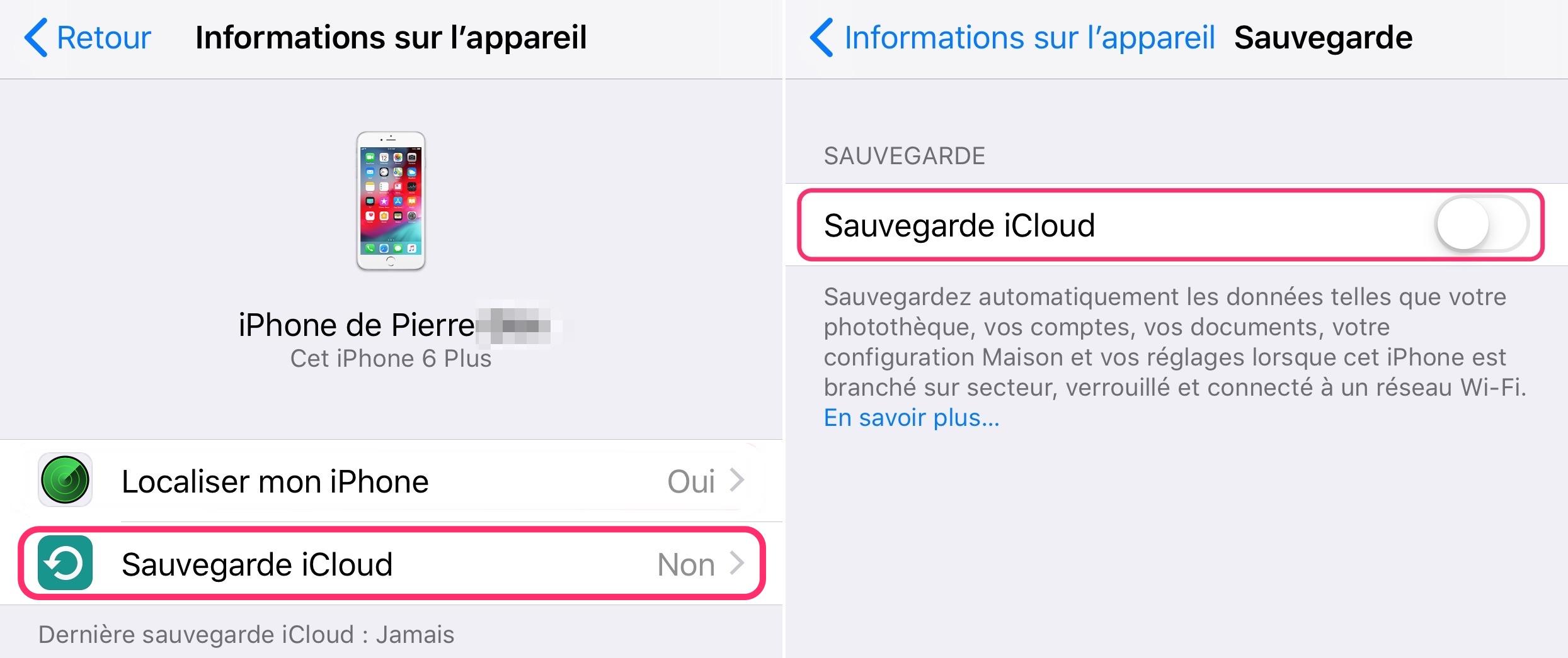 iOS sauvegarder son iPhone sur iCloud