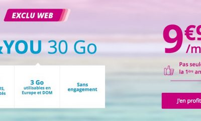 Promo forfait mobile illimité + Internet 30 Go pour 10 euros mensuels chez B&You 11