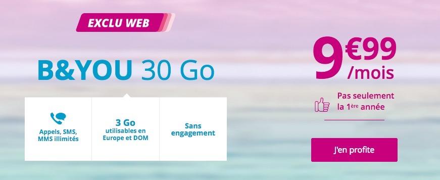 Promo forfait mobile illimité + Internet 30 Go pour 10 euros mensuels chez B&You 1