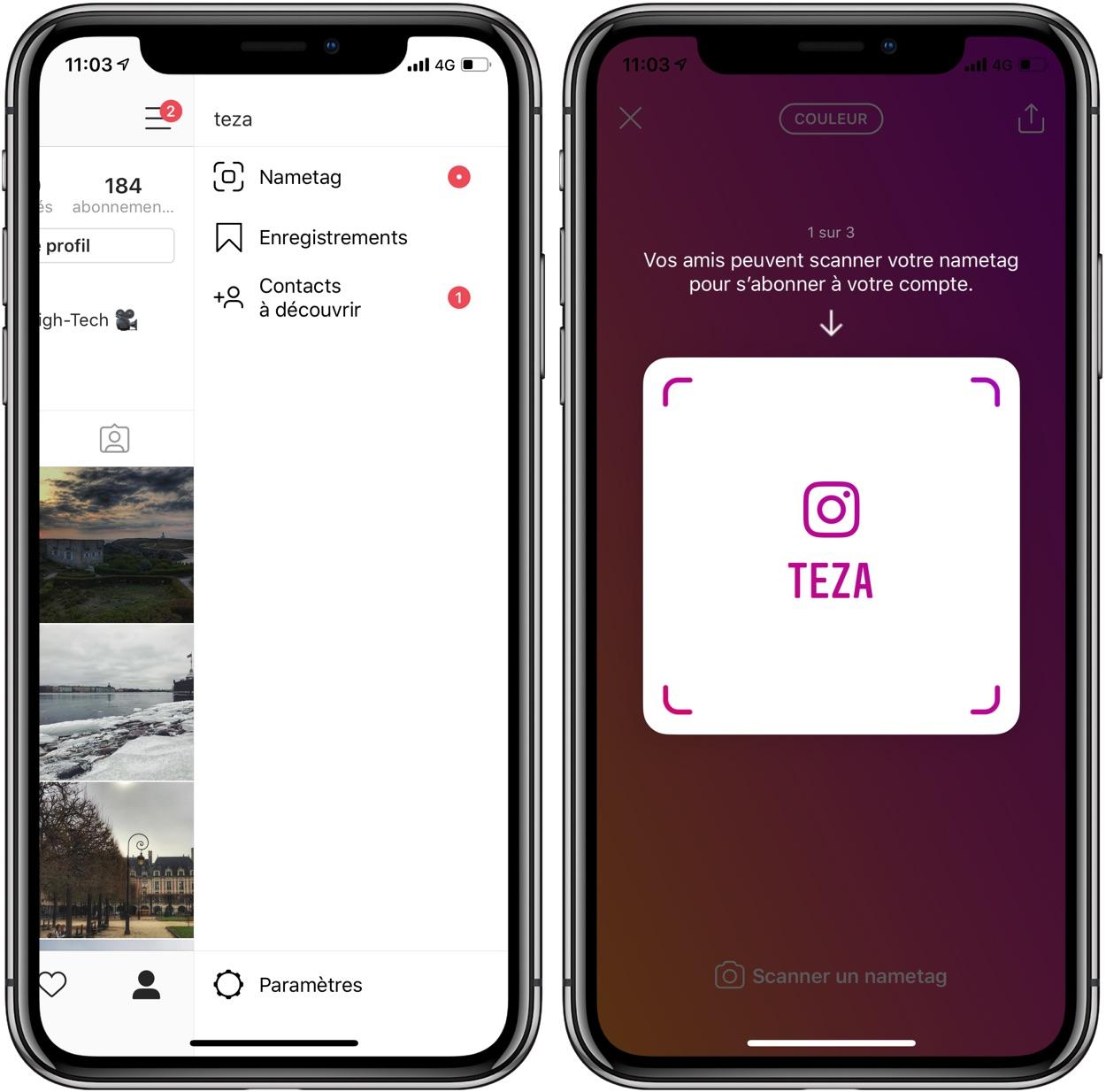 """Instagram lance le """"NameTag"""" et ... teste une fonction de suivi GPS partagé avec Facebook 1"""