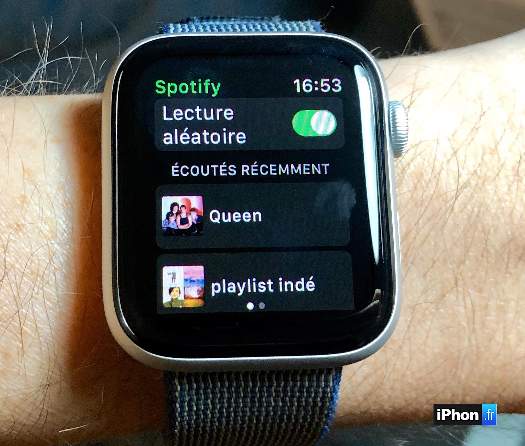 Spotify sort sa première appli Apple Watch