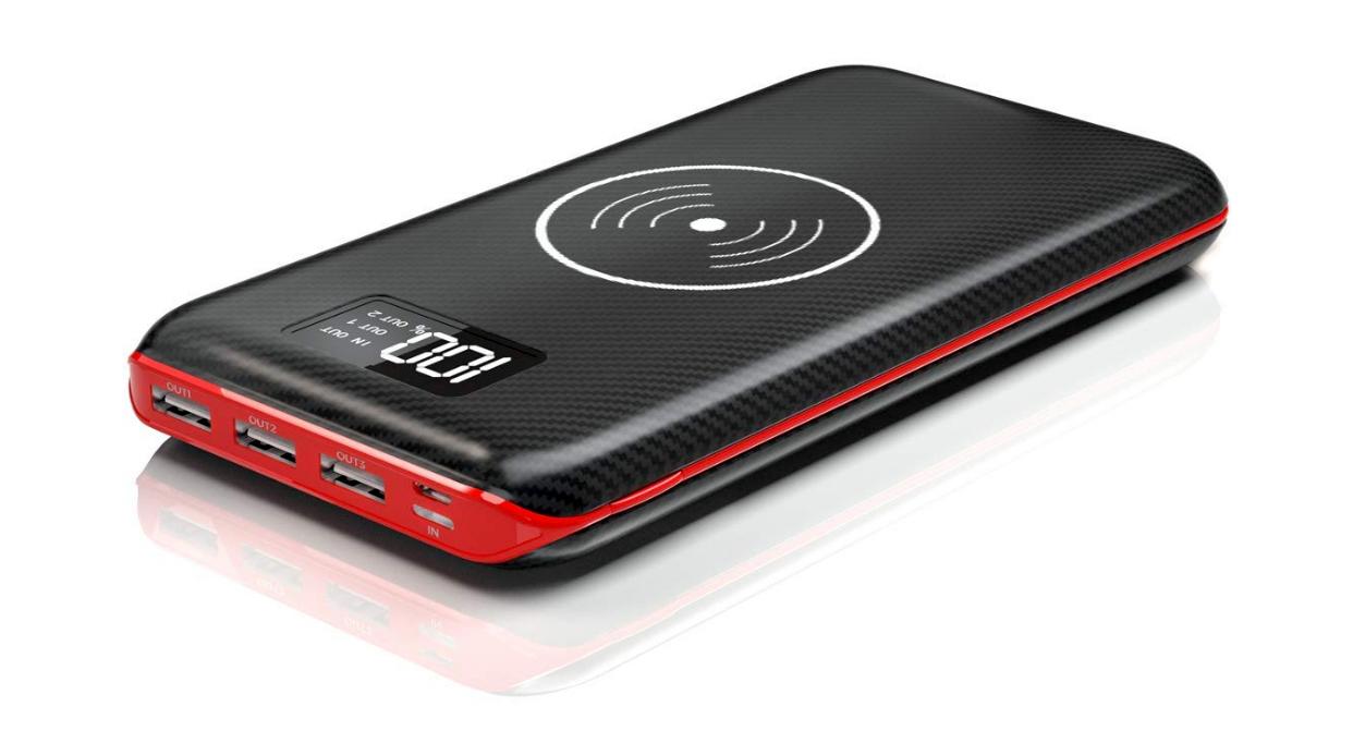 Promo flash : batterie grande capacité (24000 mAh), recharge induction Qi, entrée lightning et indicateur numérique de charge 1