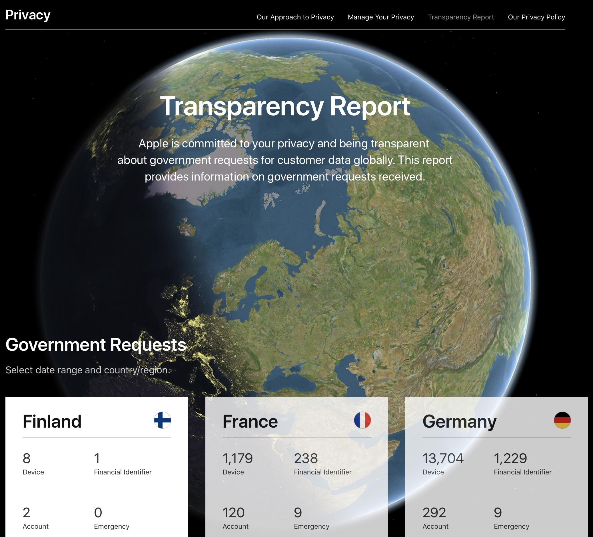 Le rapport annuel Apple sur les demandes gouvernementales toujours plus transparent avec un site dédié (et chiffres France) 1