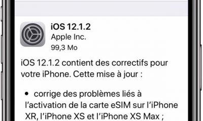 Apple sort iOS 12.1.2 : correctifs sur la gestion des sim embarquées (iPhone XR et XS) 13