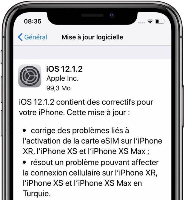 Apple sort iOS 12.1.2 : correctifs sur la gestion des sim embarquées (iPhone XR et XS) 1