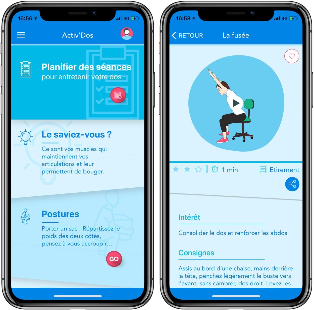 Activ'dos : une app iPhone et iPad très complète pour prendre soin de son dos 1