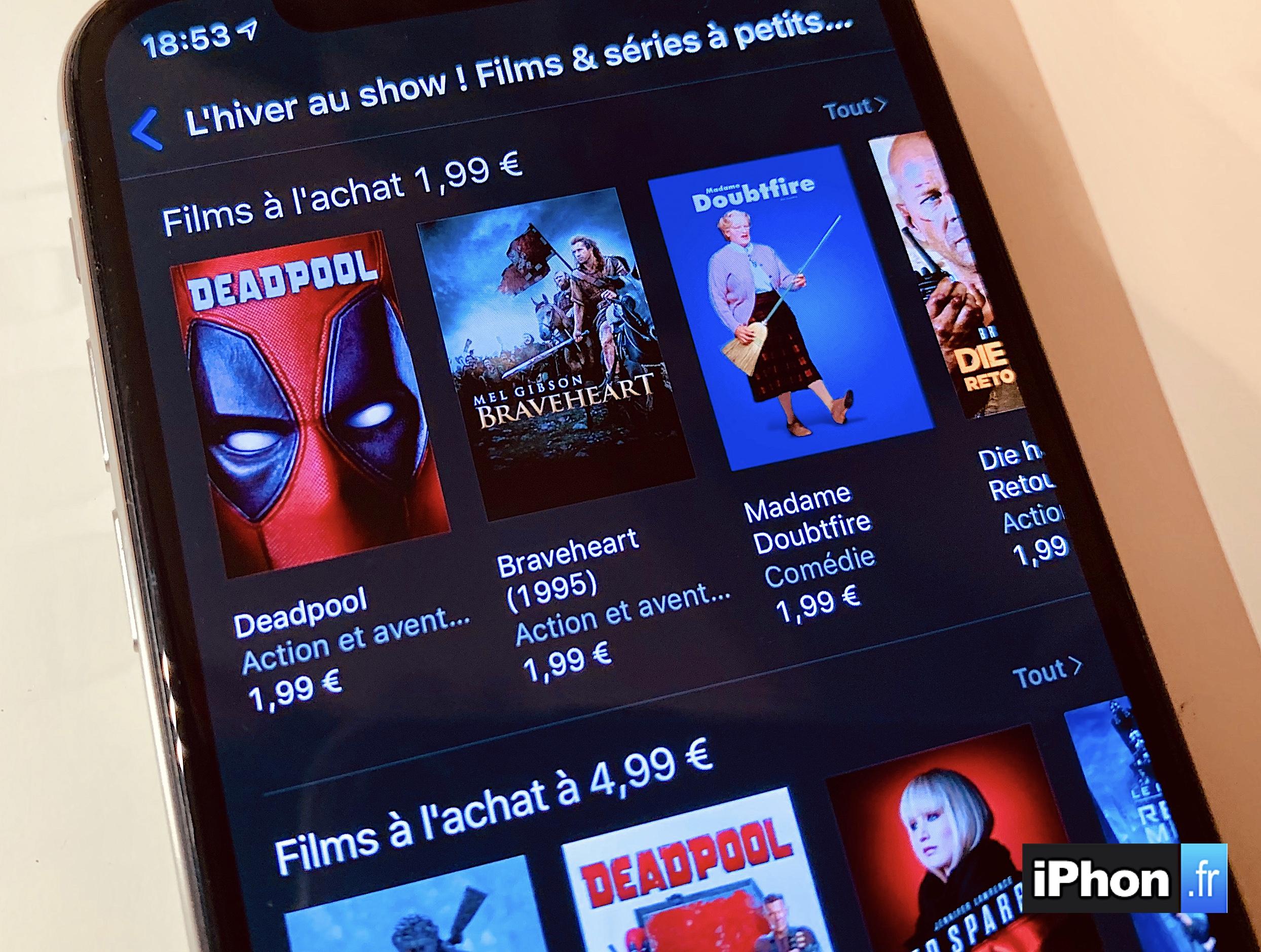 Promos iTunes :  12 BD, 20 films classiques, 70 films à 1,99 € (moins cher que la location) et 30 récents à 4,99 € ! 1