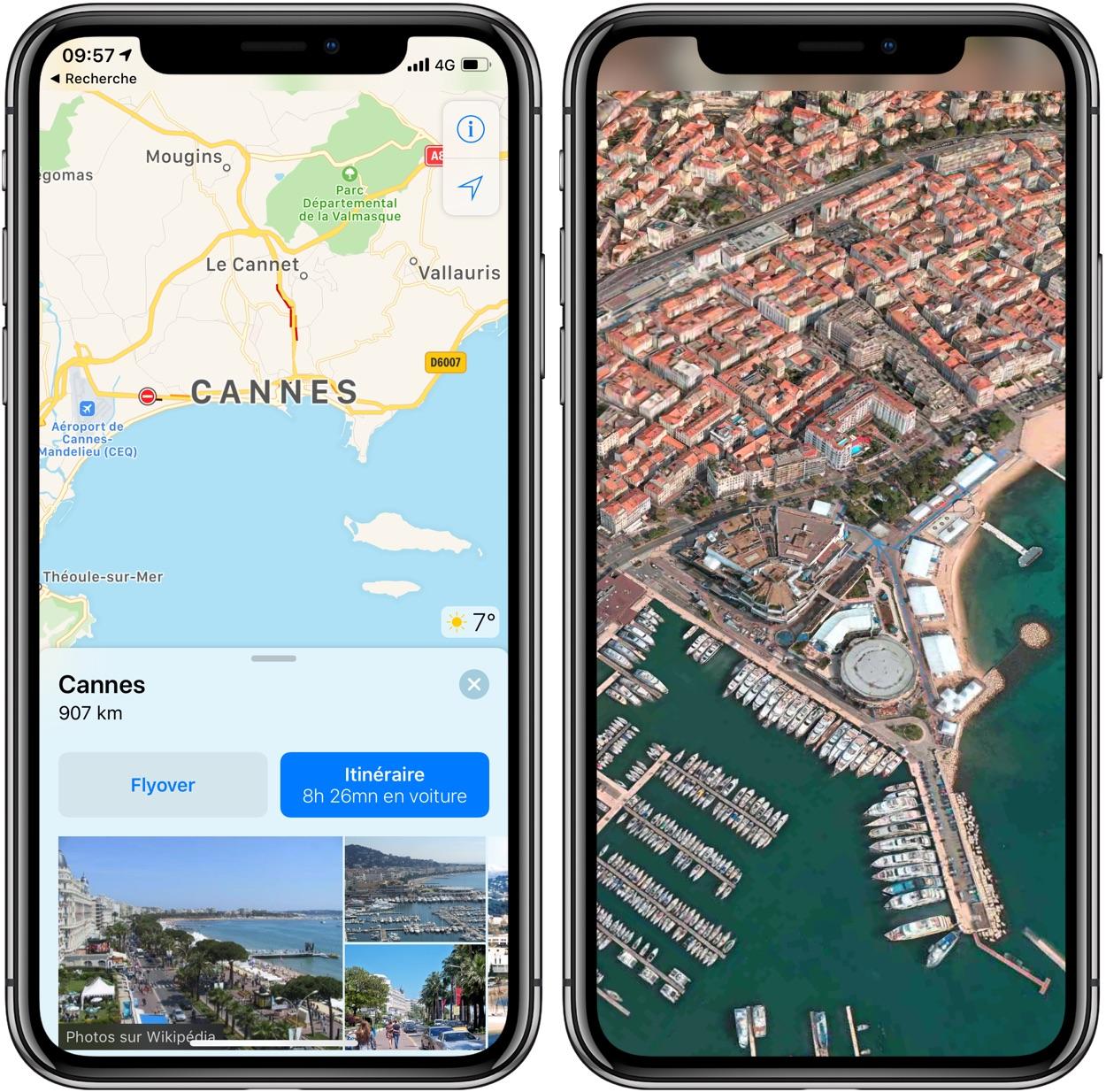 Plusieurs villes françaises reçoivent la vue 3D Flyover dans l'app Plans sur iPhone et iPad 1