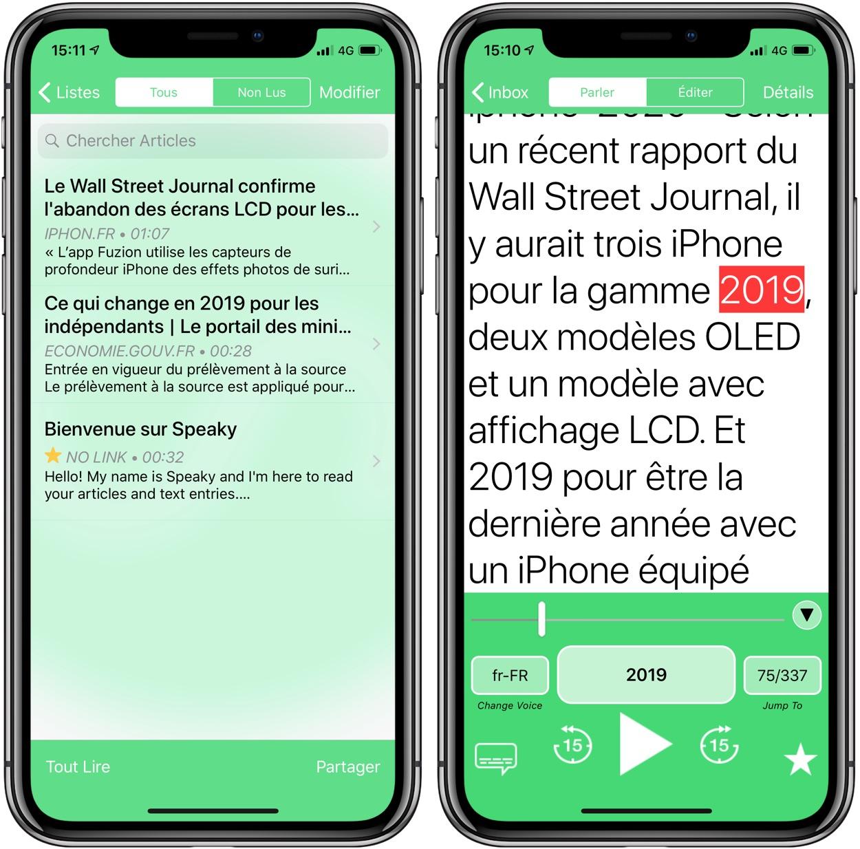 Gratuite actuellement : l'app Speaky lit les pages web et texte à haute-voix sur iPhone et iPad 1