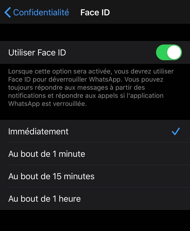 Tutoriel WhatsApp et Face ID