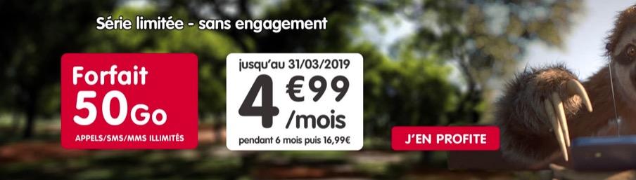Promo forfait : illimité + 50 Go pour 4,99 € mensuels chez NRJ Mobile 1