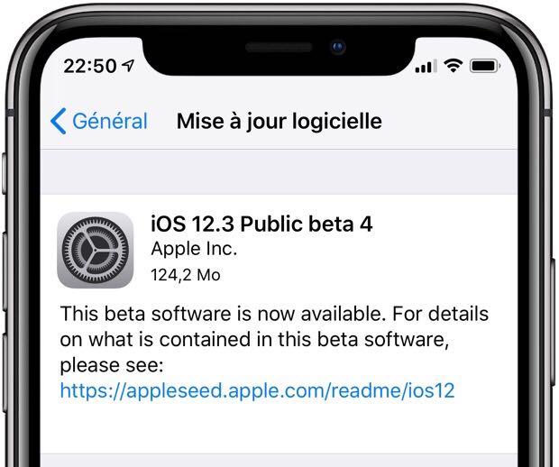 La bêta 4 d'iOS 12.3 publique est disponible sur iPhone et iPad, avec les bêta de tvOS, watchOS et MacOS 1