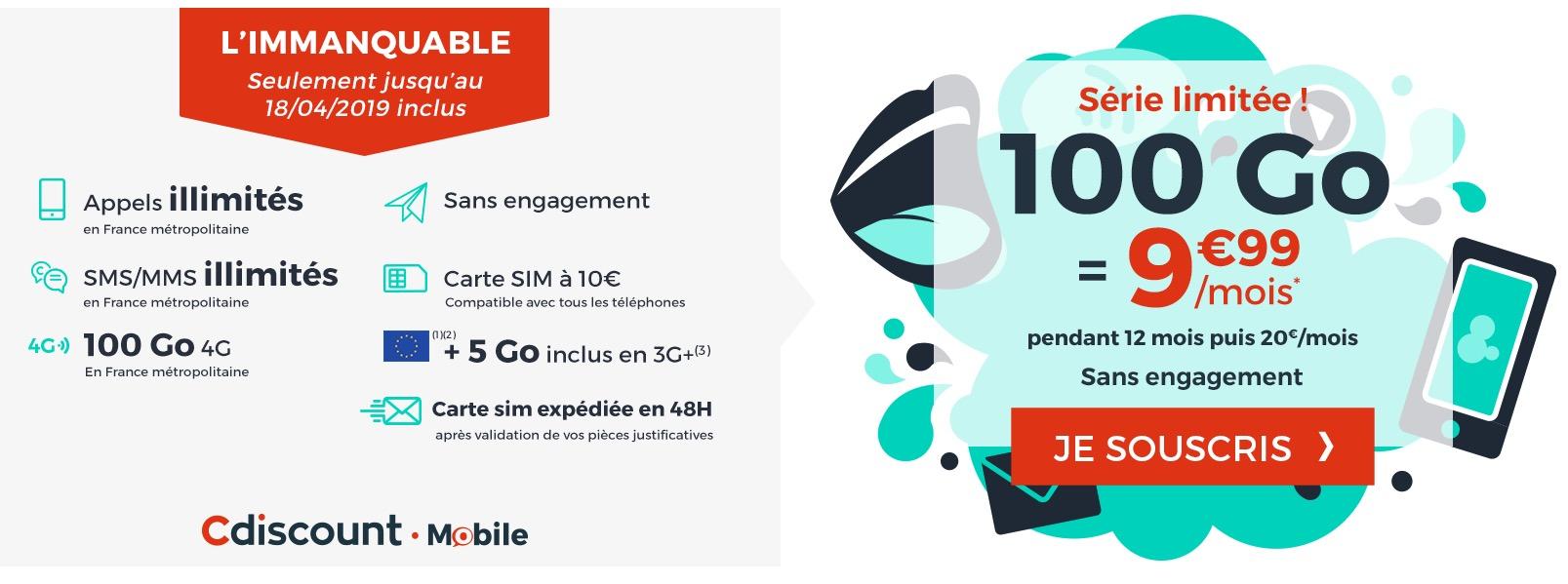 Promo forfait : illimité + 100 Go à moins de 10€/mois chez Cdiscount Mobile 1