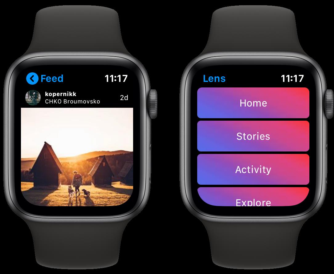 Lens : l'app qui affiche Instagram au poignet sur l'Apple Watch 1