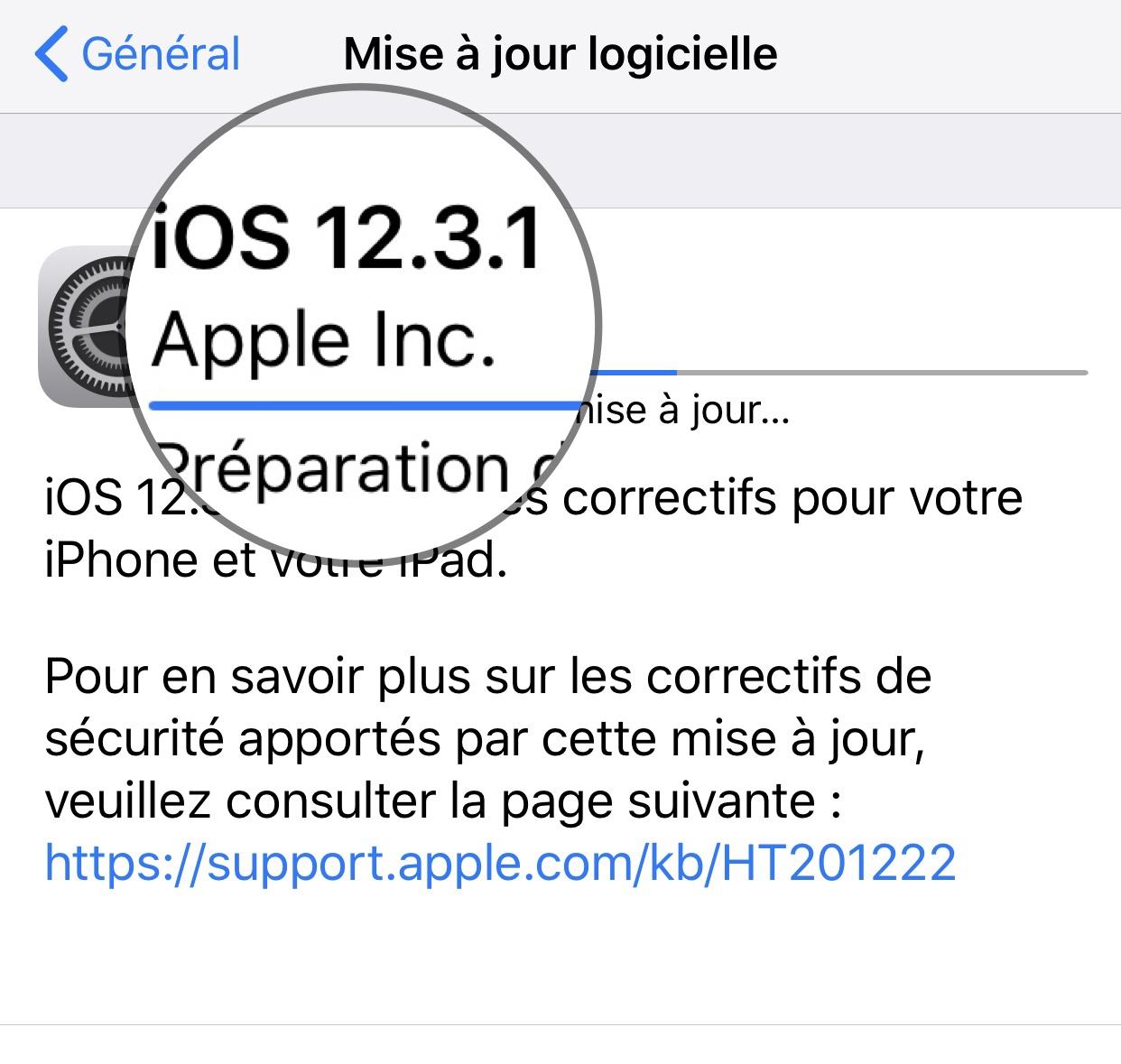 Sortie d'iOS 12.3.1 : version corrective pour iPhone et iPad, liste des modifications 1