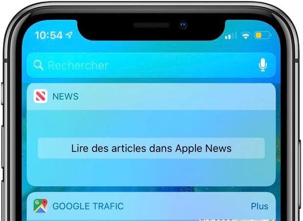 """MàJ - Le widget """"News"""" d'iOS victime d'une panne ... Il tente d'afficher """"Apple News"""" 1"""