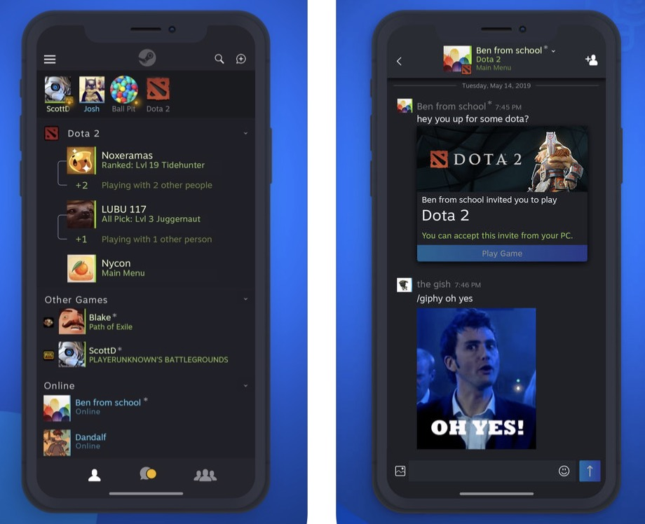 Valve fait feu de tout bois et sort son app Steam Chat sur iOS et Android 1