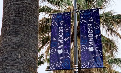 Le McEnery Convention Center de San Jose se met aux couleurs de la conférence Apple WWDC 23