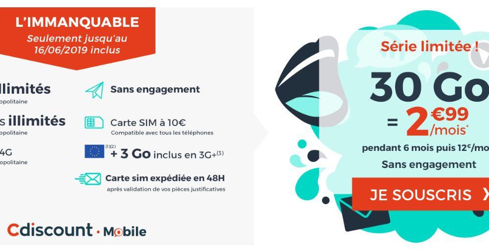Promo forfait : illimité + 30 Go à 2,99 €/mois chez Cdiscount Mobile 1