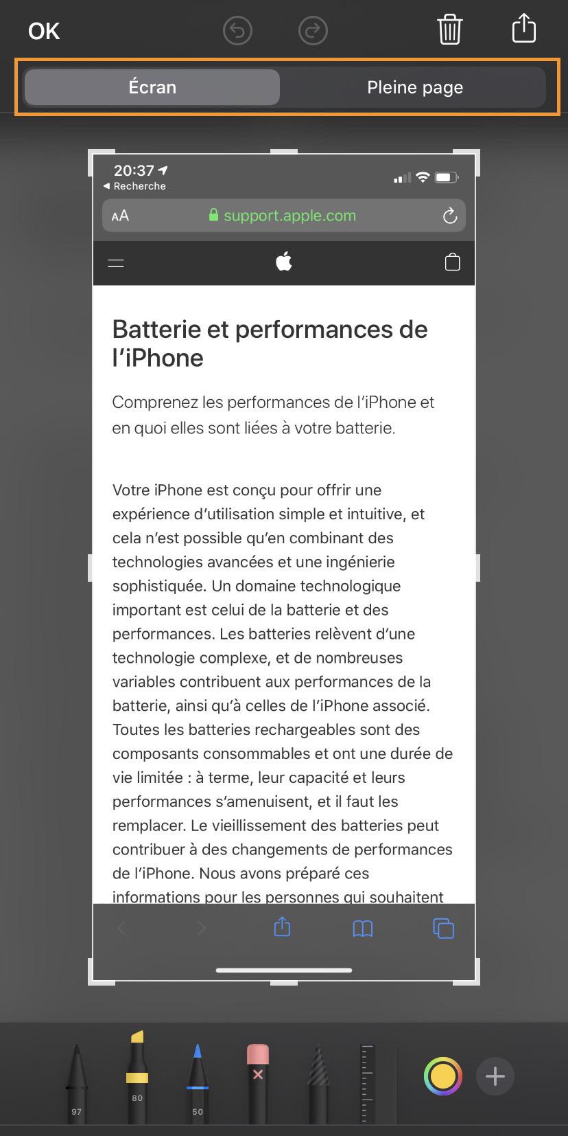 iOS 13 capture Safari pleine page web
