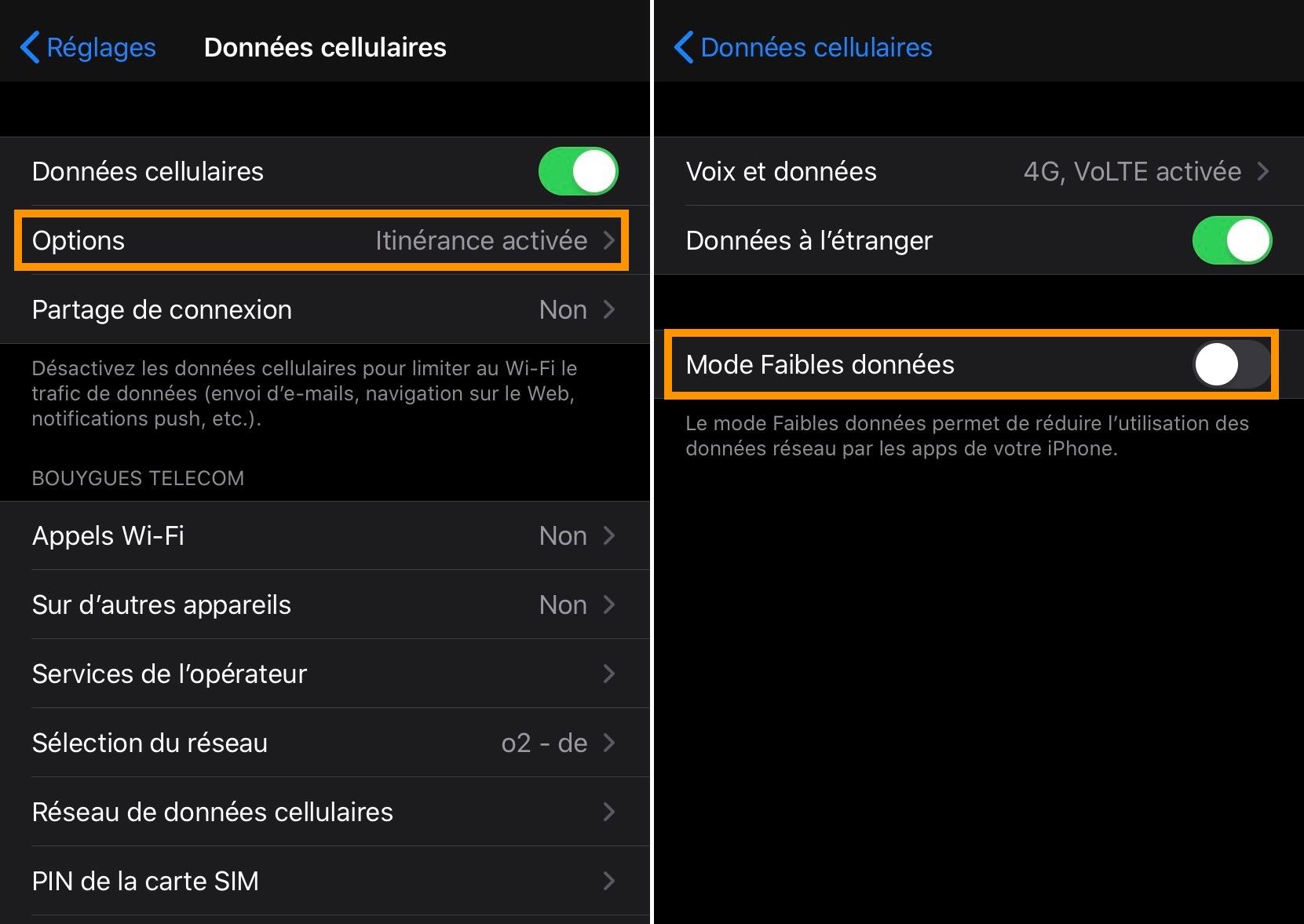 iOS 13 mode faible données cellulaires