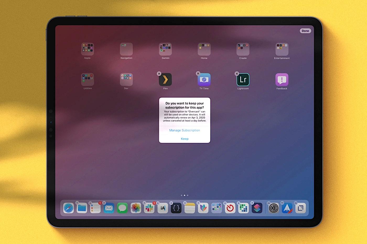 iOS 13 alerte l'utilisateur lors d'une suppression d'app pour un service avec abonnement 1