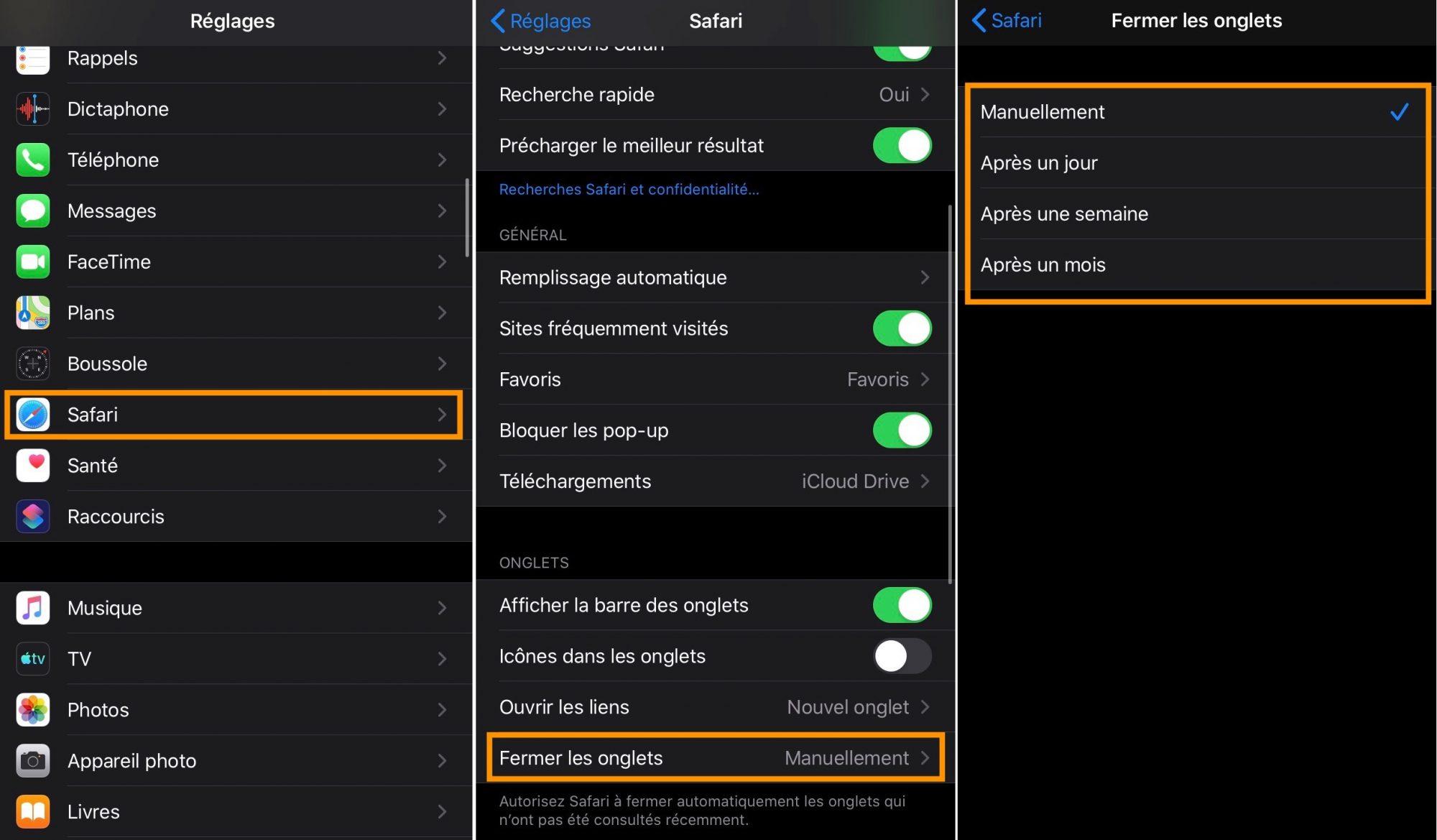 iOS 13 fermeture automatique des onglets
