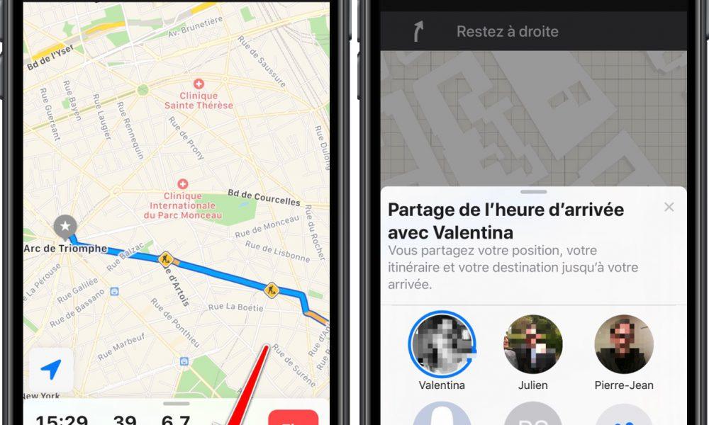 iOS 13 : Plans peut partager le temps d'arrivée en temps réel avec un ami 1