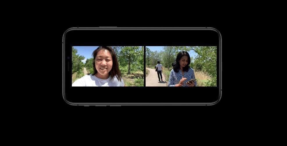 iOS 13 ouvre la possibilité de filmer simultanément avec les deux caméras (selfie et arrière) 1