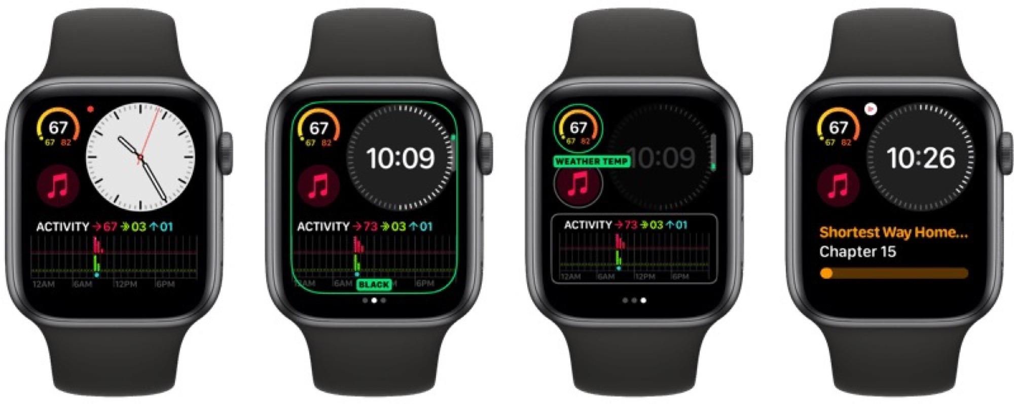 Des cadrans exclusifs aux Apple Watch récentes dans watchOS 6 7