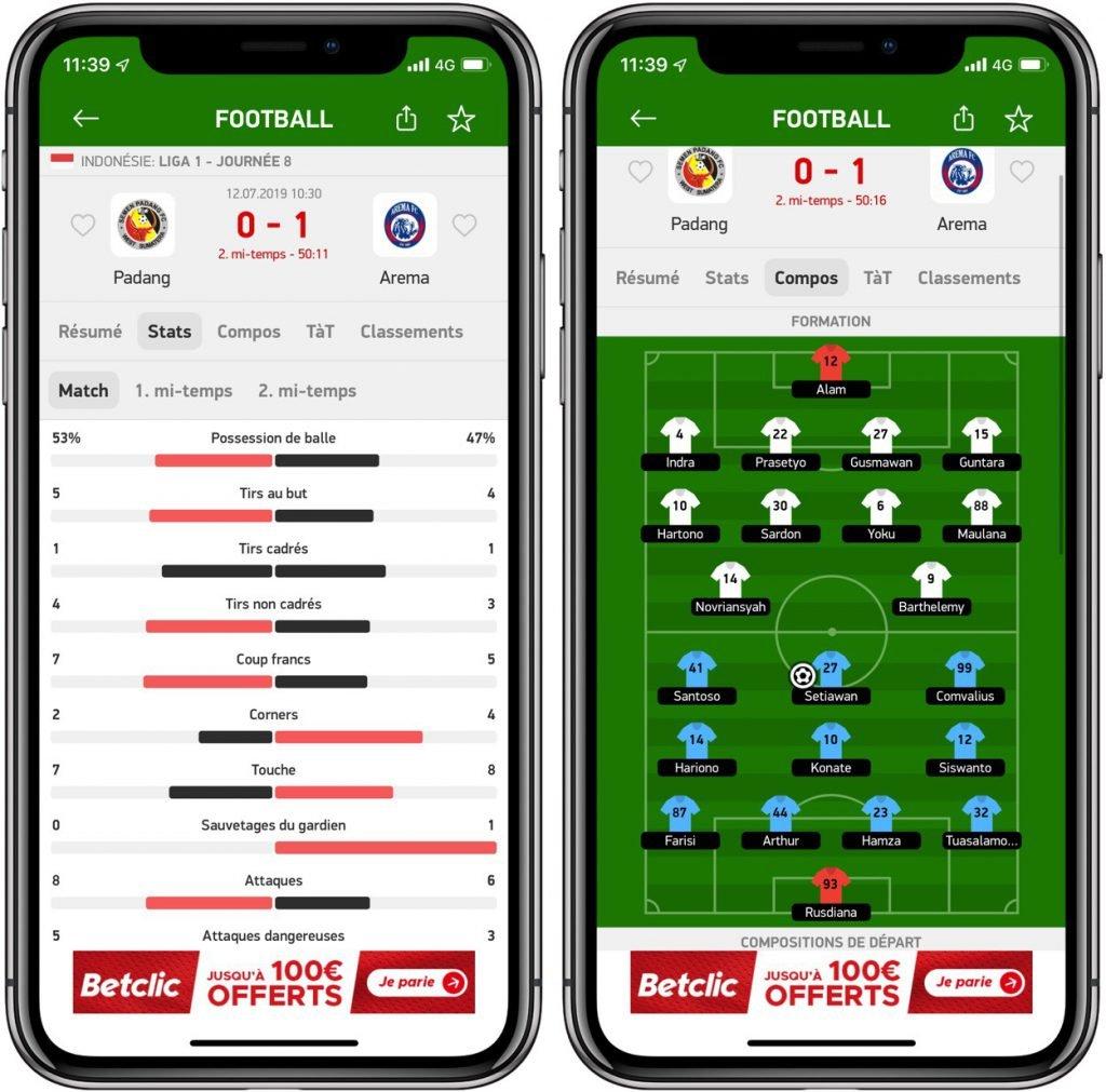 Flash Résultats: les résultats sportifs en temps réel sur votre iPhone, iPad 3