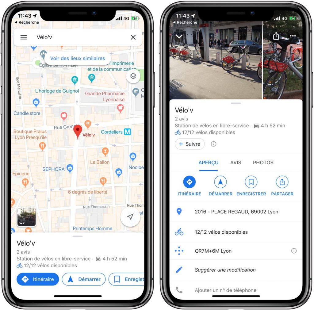 Google Maps affiche les stations de vélo en libre-service à Lyon, et dans 23 autres villes 2