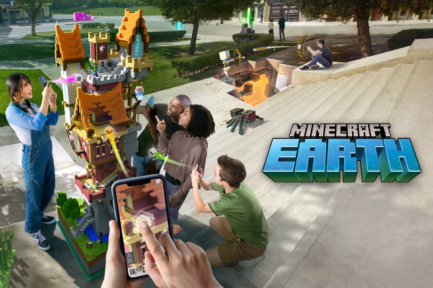Minecraft Earth : le jeu Minecraft en réalité augmentée est disponible en France 1