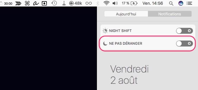 Panneau notification mode ne pas déranger macOS