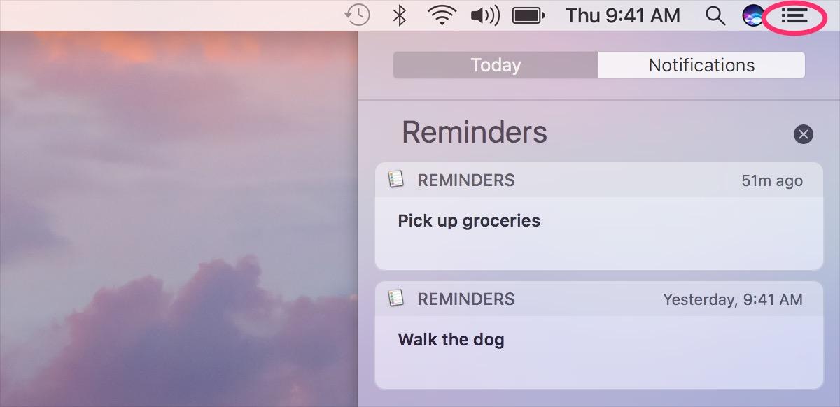 Accès panneau notifications macOS