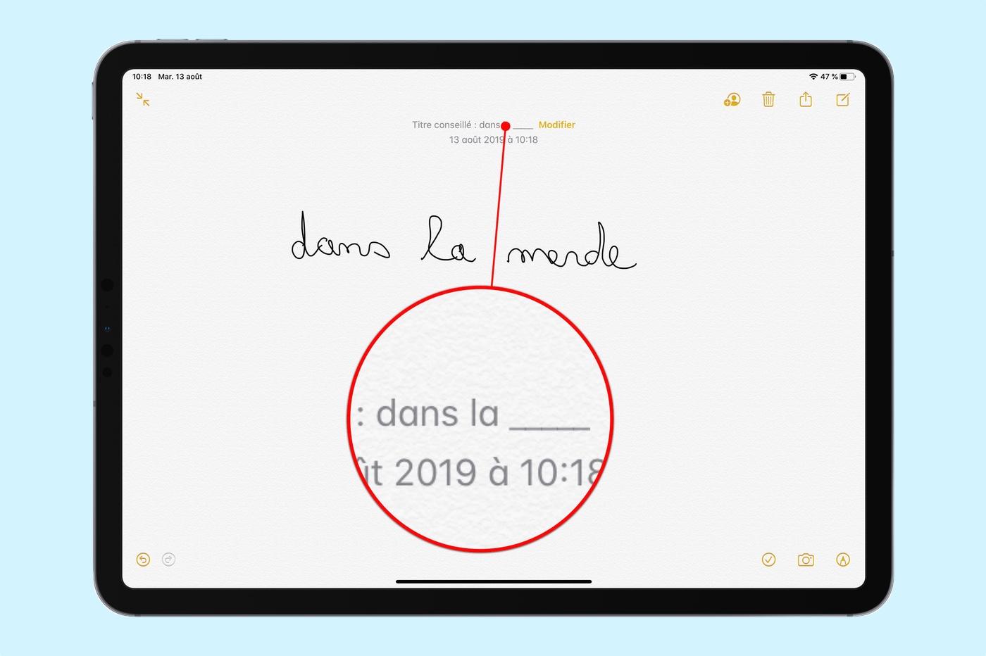 censure dans notes manuscrites iOS