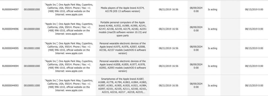 nouveaux produits Apple enregistrés