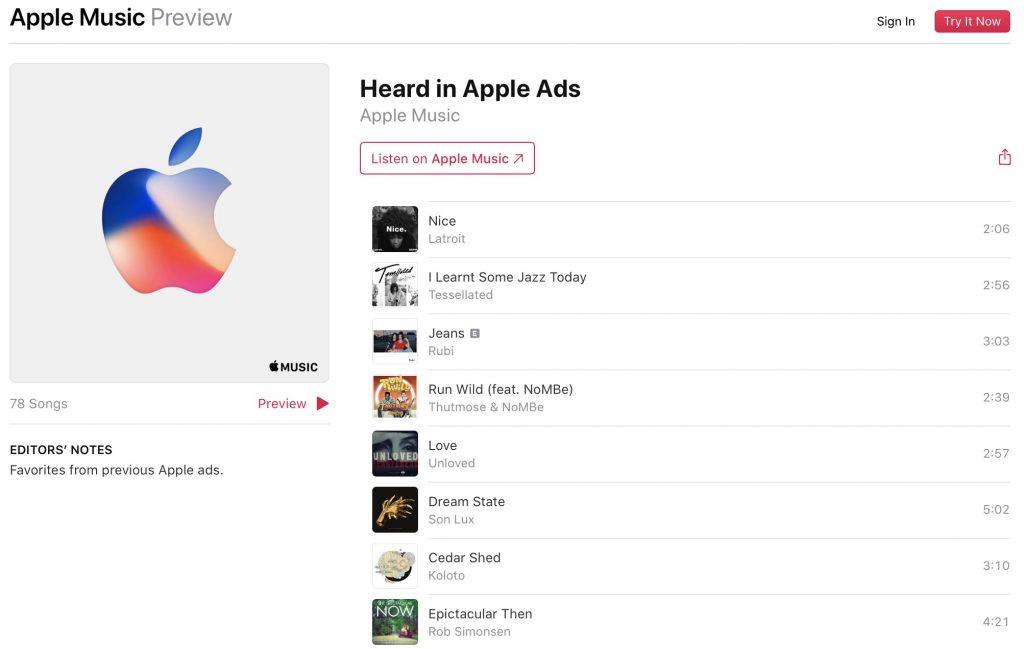 """Playlist """"Heard in Apple Ads"""" sur Apple Music"""