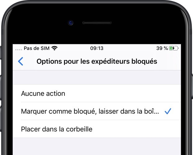 bloquer messages mail iOS 13