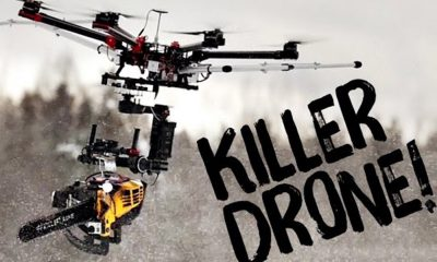 Drone équipé d'une tronçonneuse