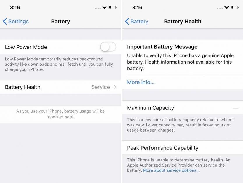 etat santé batterie iPhone