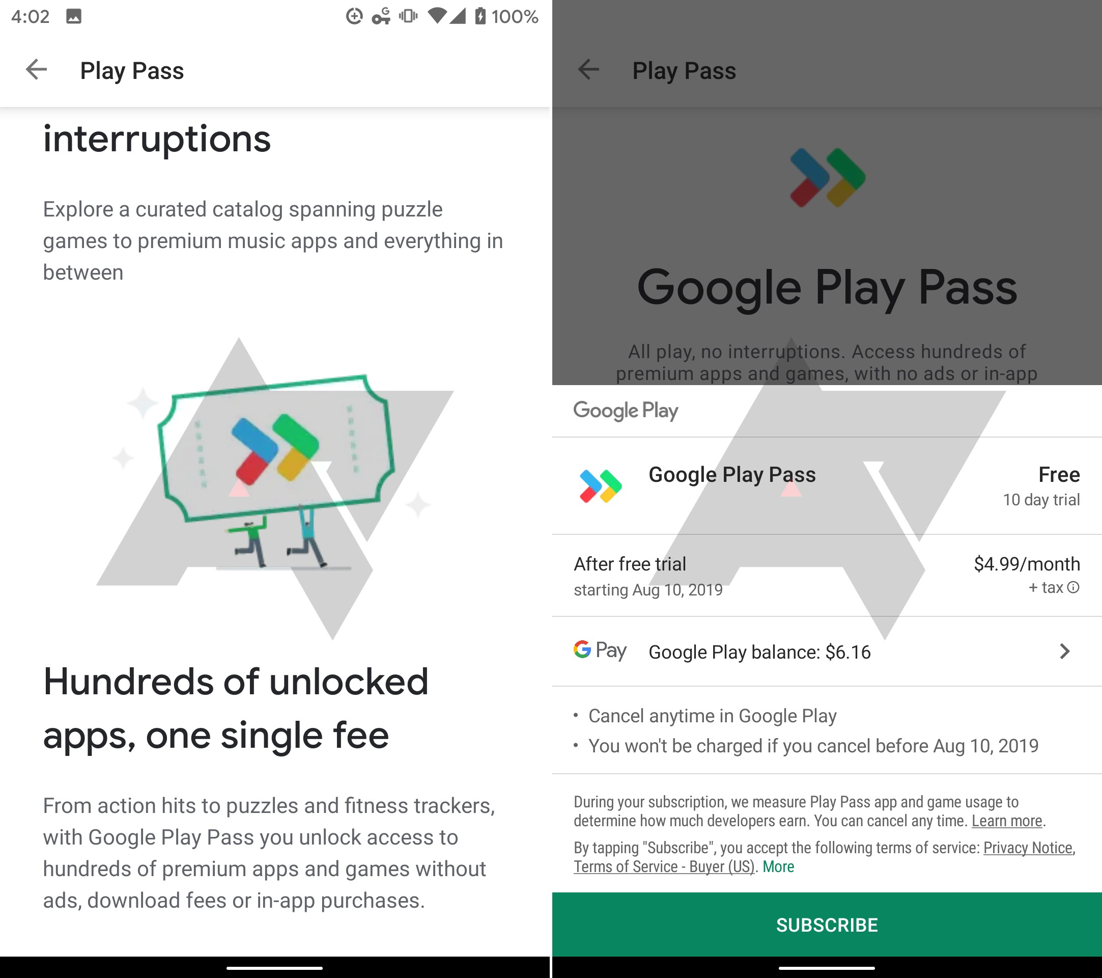 Abonnement apps jeux Google Play Pass